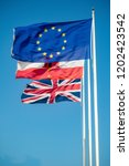 Flags of the EU, United Kingdom and Gibraltar - stock photo