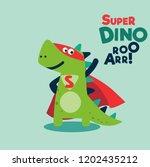 funny dinosaur in superhero... | Shutterstock .eps vector #1202435212