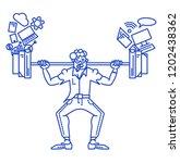 information overload man.  an... | Shutterstock .eps vector #1202438362