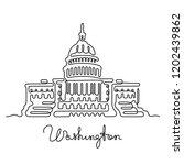washington continuous line...   Shutterstock .eps vector #1202439862