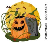 halloween pumpkin stay and... | Shutterstock .eps vector #1202455375