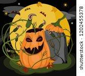 halloween pumpkin stay and... | Shutterstock .eps vector #1202455378