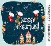 christmas card with stockings | Shutterstock .eps vector #120246082