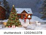 scene of christmas tree in... | Shutterstock . vector #1202461378