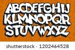 white graffiti font on an...