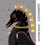 black raven zombie's shaman | Shutterstock .eps vector #1202468695