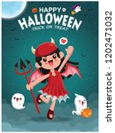 vintage halloween poster design ... | Shutterstock .eps vector #1202471032