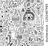 seamless pattern with party... | Shutterstock .eps vector #1202487985