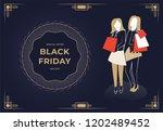 two women holding bags. black...   Shutterstock .eps vector #1202489452