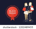 two women holding bags. black...   Shutterstock .eps vector #1202489455