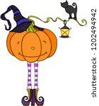halloween pumpkin with black... | Shutterstock .eps vector #1202494942