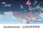 tropical trumpet tree flower... | Shutterstock .eps vector #1202495998