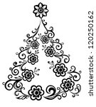 christmas tree  abstract floral ...   Shutterstock .eps vector #120250162