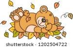 teddy bear sleeping with autumn ... | Shutterstock .eps vector #1202504722