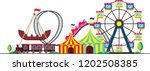 amusement park cartoon vector | Shutterstock .eps vector #1202508385