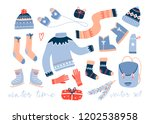 cozy winter clothes and other... | Shutterstock .eps vector #1202538958