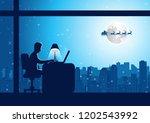 businessman do overtime work at ... | Shutterstock .eps vector #1202543992