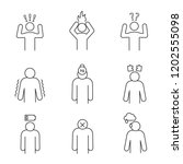 emotional stress linear icons... | Shutterstock .eps vector #1202555098