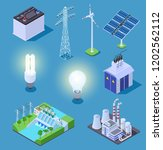 electric power isometric icons. ... | Shutterstock .eps vector #1202562112