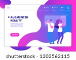 virtual reality concept. people ... | Shutterstock .eps vector #1202562115