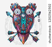 Boho Style Colored Owl With...