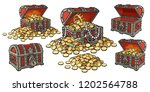 cartoon set of pirate treasure... | Shutterstock .eps vector #1202564788