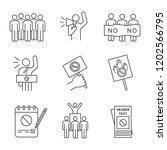 protest action linear icons set.... | Shutterstock .eps vector #1202566795