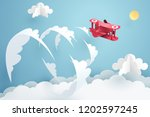 above the clouds  paper art of... | Shutterstock .eps vector #1202597245