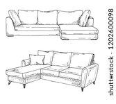 set of sofas isolated on white... | Shutterstock .eps vector #1202600098