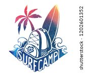colored surfing camp logo...   Shutterstock . vector #1202601352