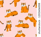 cute vector pattern with tigers ... | Shutterstock .eps vector #1202606008