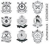 heraldic signs  elements ... | Shutterstock .eps vector #1202608162