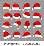 christmas santa claus caps set  ... | Shutterstock .eps vector #1202610268