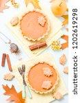 pumpkin pie with cinnamon and...   Shutterstock . vector #1202619298