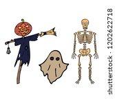 happy halloween color vector... | Shutterstock .eps vector #1202622718