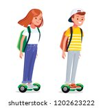 young people riding hover board ... | Shutterstock .eps vector #1202623222