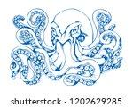octopus hand drawn. figure blue ... | Shutterstock . vector #1202629285