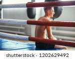 athletic man rests in ring and... | Shutterstock . vector #1202629492