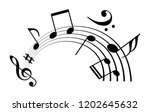 notes and musical melody icon... | Shutterstock .eps vector #1202645632