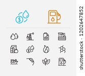 petrol icons set. plant and... | Shutterstock . vector #1202647852