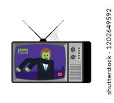 zombie news old tv. halloween... | Shutterstock .eps vector #1202649592