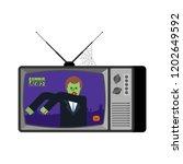 zombie news old tv. halloween... | Shutterstock .eps vector #1202649592