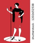 beautiful woman wearing retro...   Shutterstock .eps vector #1202652538