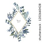 Watercolor Herbarium Frame Wit...