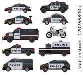 police car vector emergency... | Shutterstock .eps vector #1202668405