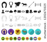 hippodrome and horse flat icons ... | Shutterstock .eps vector #1202673325