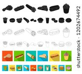 fast food flat icons in set... | Shutterstock .eps vector #1202674492