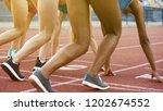 multiracial girls in starting... | Shutterstock . vector #1202674552