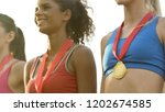 sports girls smiling  standing... | Shutterstock . vector #1202674585