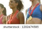 sports girls smiling  standing...   Shutterstock . vector #1202674585